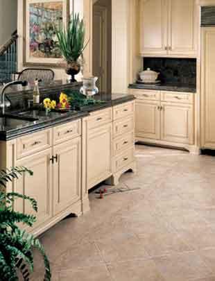 installing kitchen cabinets on tile floor